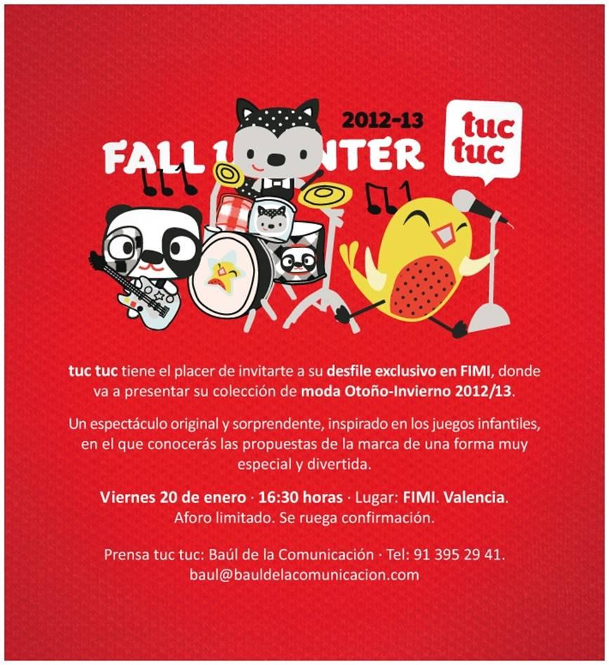 Invitación blogger de Moda Infantil al desfile de TUCTUC en FIMI
