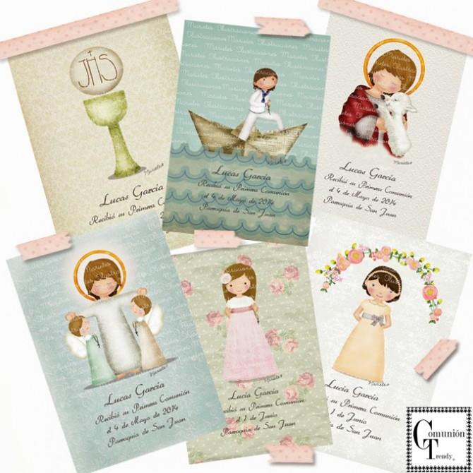 Marietes Ilustraciones, Invitaciones Comunion, Libro firmas Comunión,  Comunión Trendy