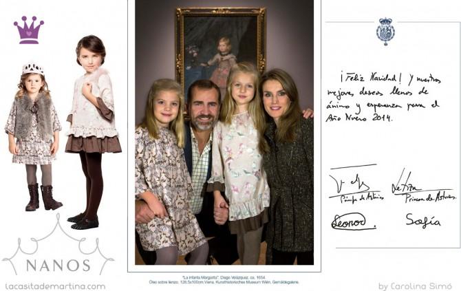 Felicitación Navidad Príncipes de Asturias, Vestidos Infantas Leonor y Sofía, Navos vestidos Infantas, Blog Moda Infantil, La casita de Martina