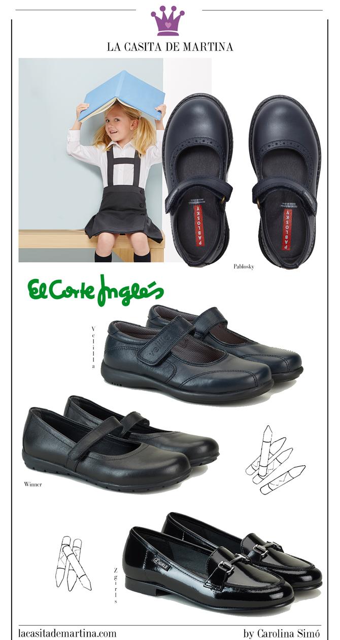 Calzado para uniformes, Zapatos vuelta al cole, Moda Infantil, La casita de Martina, El Corte Ingles, Pablosky