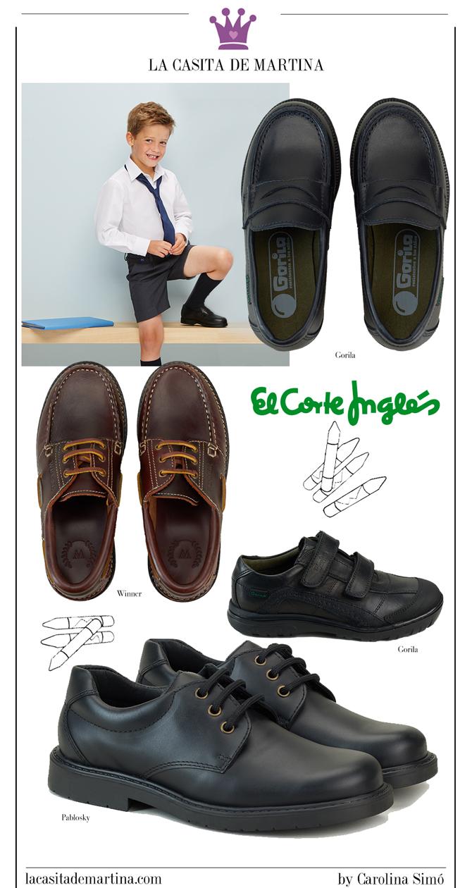 Calzado para uniformes, Zapatos vuelta al cole, Moda Infantil, La casita de Martina, El Corte Ingles, Pablosky, Gorila