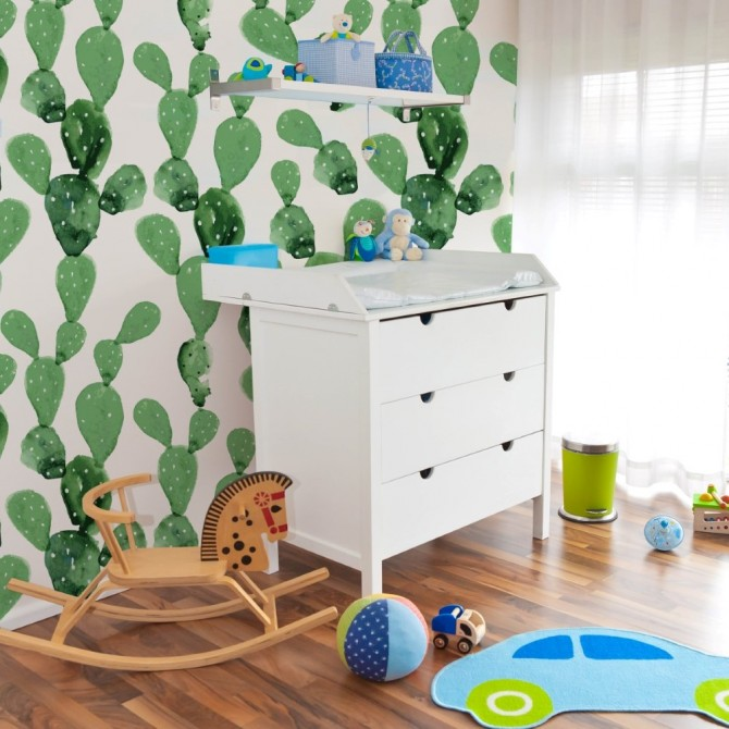 Papel pared cactus, Blog de moda infantil, La casita de Martina