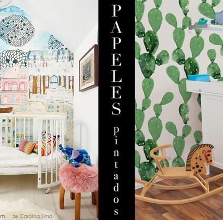 Papel pared cactus, habitaciones infantiles, blog de moda infantil