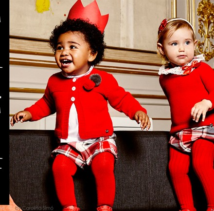 Blog de moda infantil, tartan tendencia, tejidos tendencias, Julia vistiendo bebes