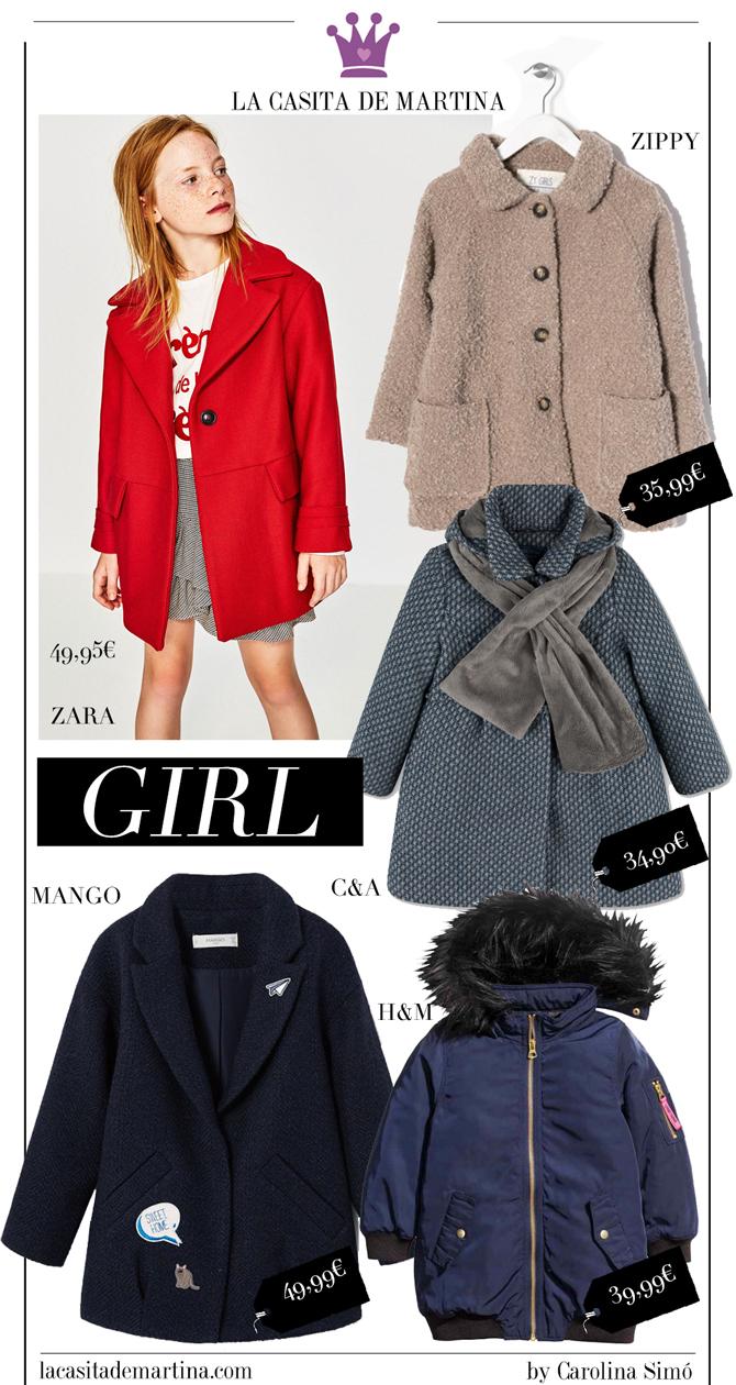 Blog de Moda Infantil, Abrigos infantiles, Zara kids, Mango kids, Hm, La casita de Martina